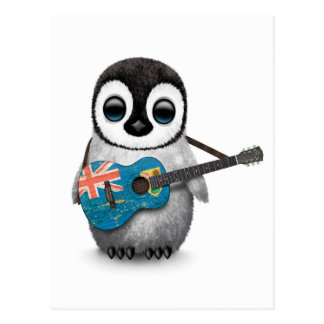 Penguin Playing Turks and Caicos Flag Guitar Postcards