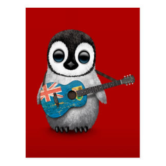 Penguin Playing Turks and Caicos Flag Guitar Red Postcards