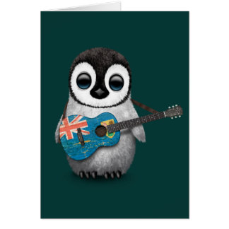 Penguin Playing Turks and Caicos Flag Guitar Teal Greeting Cards