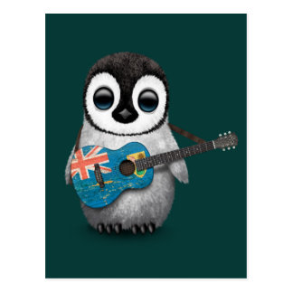Penguin Playing Turks and Caicos Flag Guitar Teal Post Cards