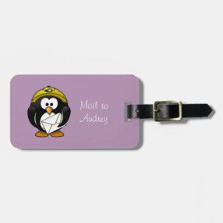 Penguin Postman Purple Luggage Tag