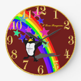 Penguin Red And Gold Clock