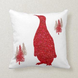 Penguin Red Faux Glitter Penguins Christmas Cushion