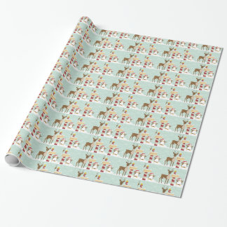 Penguin Reindeer North Pole Christmas Holiday Wrapping Paper