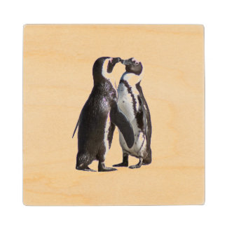 Penguin romance wood coaster