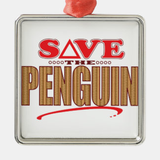 Penguin Save Silver-Colored Square Decoration
