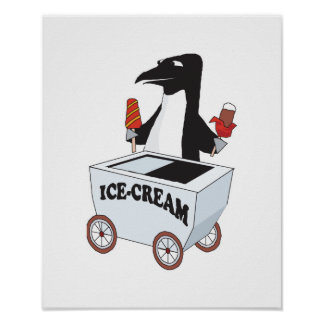 penguin selling ice cream poster