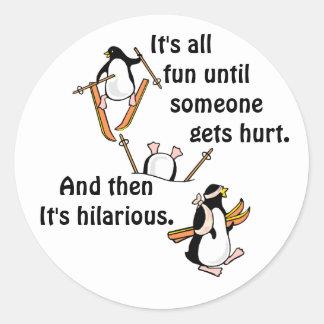 Penguin Ski Adventure Round Sticker