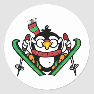 Penguin Ski Jumping Stickers Round Sticker