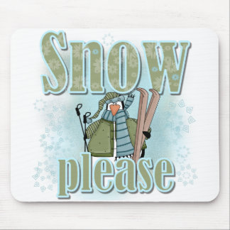Penguin Ski Snow Please T-shirts and Gifts Mousepads