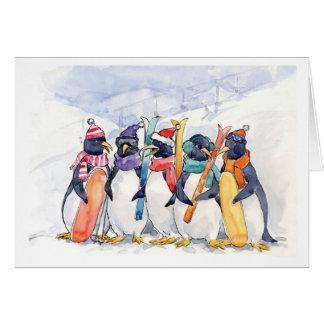 Penguin Ski Trip Greeting Card