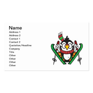 Penguin Skiing Pack Of Standard Business Cards