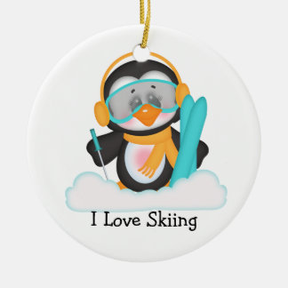 Penguin Skiing Christmas Ornament