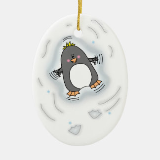 Penguin Snow Angel Oval Ornament
