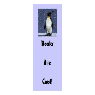 Penguin, Snow: BOOKS ARE COOL BOOKMARK Double-Sided Mini Business Cards (Pack Of 20)