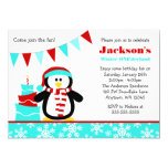 Penguin Snowflakes Teal Winter Onederland Birthday Custom Announcement