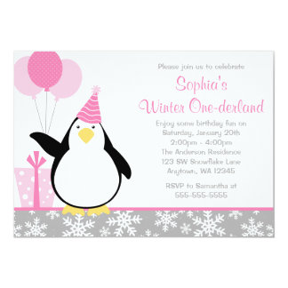 Penguin Snowflakes Winter Onederland Birthday Card
