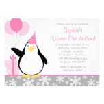 Penguin Snowflakes Winter Onederland Birthday Personalised Invites