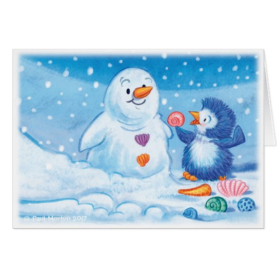 Penguin & Snowman large Christmas card