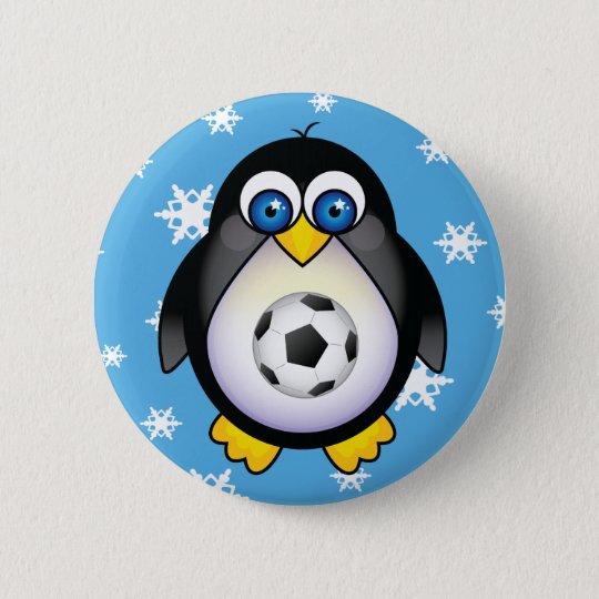 Penguin Soccer Christmas Button