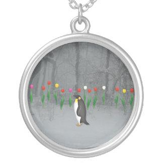 Penguin Spring Walk Round Pendant Necklace