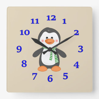 Penguin Square Wall Clock