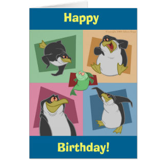 Penguin Squares Birthday Card