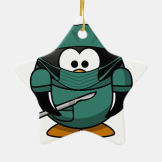 Penguin Surgeon Ceramic Star Decoration