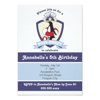 Penguin Swim Club Kids Birthday Pool Party Invites
