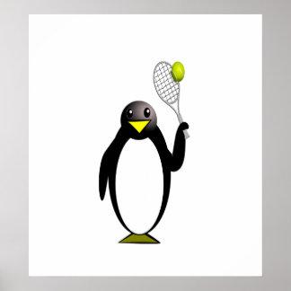 Penguin Tennis Poster