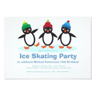 Penguin Trio Boys Ice Skating Birthday Party 13 Cm X 18 Cm Invitation Card
