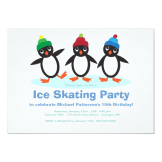 Penguin Trio Boys Ice Skating Birthday Party Card