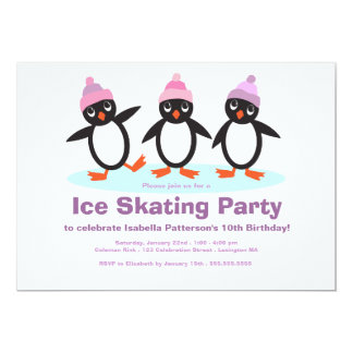 "Penguin Trio Girls Ice Skating Birthday Party 5"" X 7"" Invitation Card"