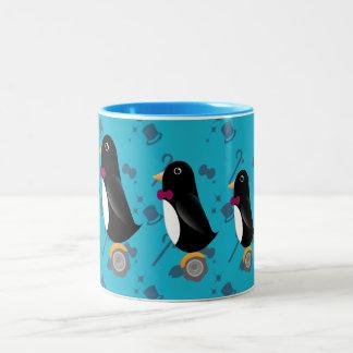 Penguin trio on wheel - mug