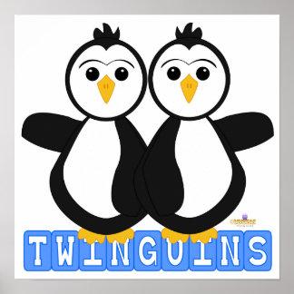 Penguin Twins Twinguins Blocks Blue Poster