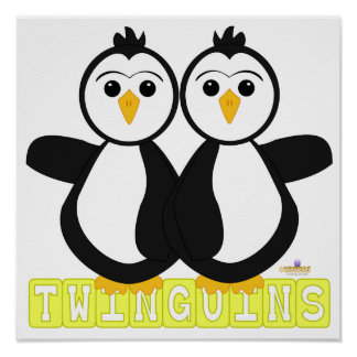 Penguin Twins Twinguins Blocks Yellow Poster