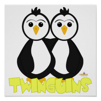 Penguin Twins Twinguins Yellow Print
