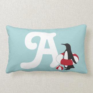 Penguin w/ Inner Tube and Beach Ball Monogram Lumbar Pillow