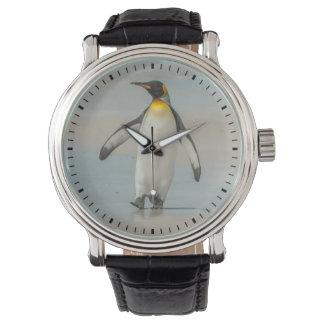 Penguin walking on the beach wrist watch
