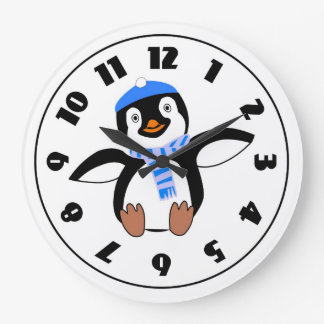Penguin Wearing A Scarf Clock