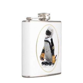 Penguin Wearing Hockey Gear Hip Flask