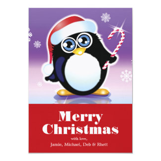 Penguin wearing Santa hat, holding candy cane 13 Cm X 18 Cm Invitation Card