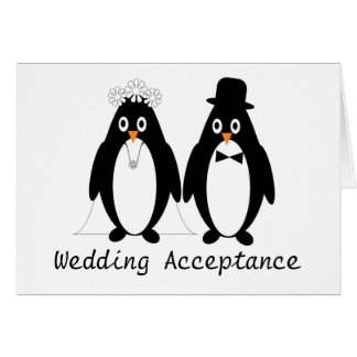 Penguin Wedding Acceptance Card