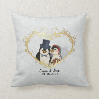 Penguin Wedding Bride and Groom - Customize Throw Pillow