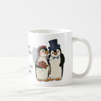 Penguin Wedding Bride and Groom Tie - Customise Mug