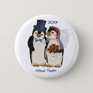 Penguin Wedding Bride and Groom Tie - Customize 6 Cm Round Badge
