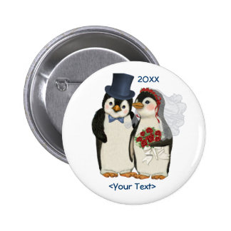 Penguin Wedding Bride and Groom Tie - Customize 6 Cm Round Badge