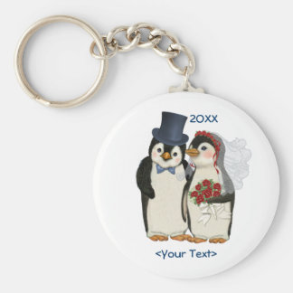Penguin Wedding Bride and Groom Tie - Customize Key Ring