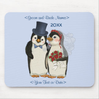 Penguin Wedding Bride and Groom Tie - Customize Mouse Mat