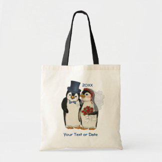 Penguin Wedding Bride and Groom Tote Bag